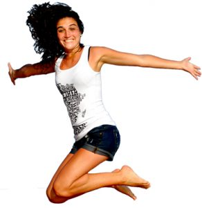 Jumping woman trampoline park